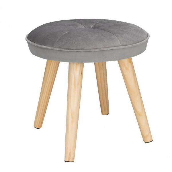 Fußhocker Sitzhocker aus Samt mit Holzbeine, rund hellgrau