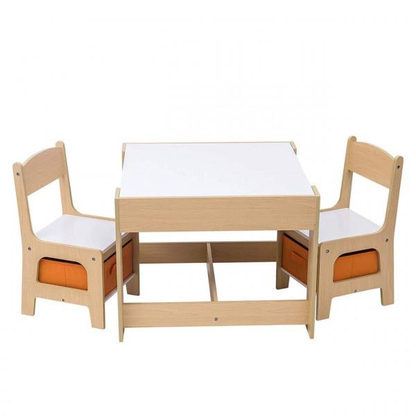 Kindertisch mit 2 Stühle Sitzgruppe mit Stauraum für Kinder
