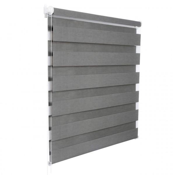 Doppelrollo Klemmfix ohne Bohren für Fenster in Holzlook Grau