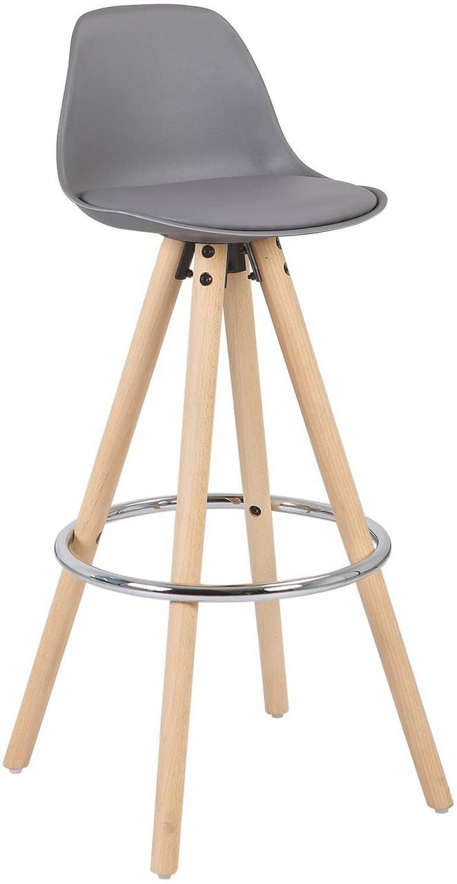 Bar stool made of synthetic leather, wooden frame Joyce