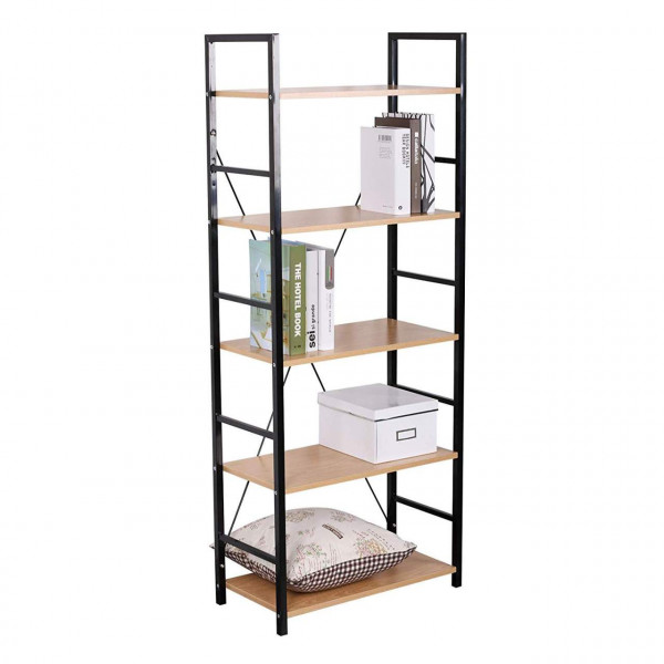 Stand shelf with shelf in metal & wood, black-oak light