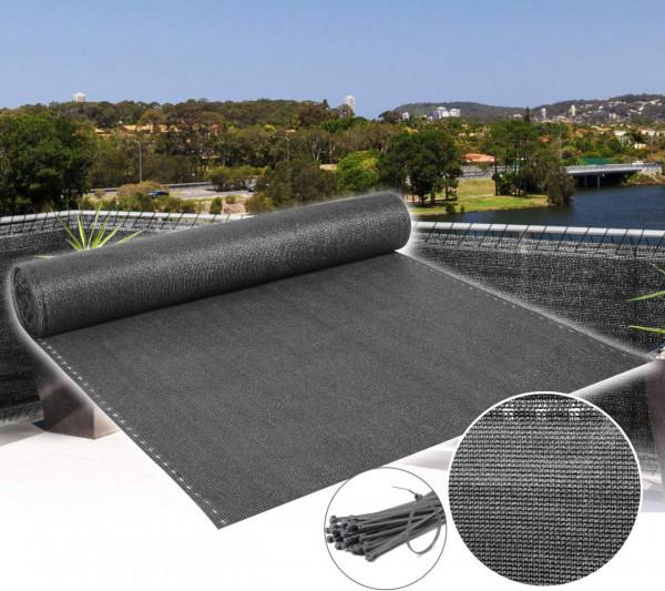 Zaunblende Schattiernetz Sichtschutz mit Kabelbinder, Anthrazit