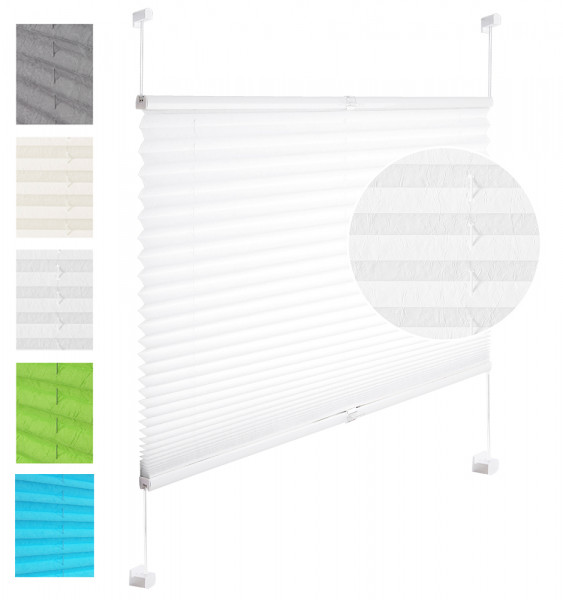 Pleated Blinds Polyester No Drilling Easy Fix Pleated Shades Instant Temporary Privacy Blinds for Window Crushed Look White