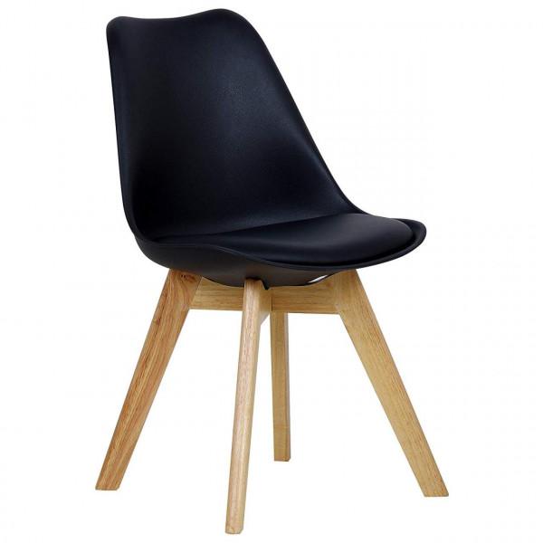 Esszimmerstühle 2er-Set Leinenbezug Holzbeine Lisa schwarz