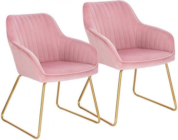 2er-Set Esszimmerstühle aus Samt - Modell Kerstin, Rosa