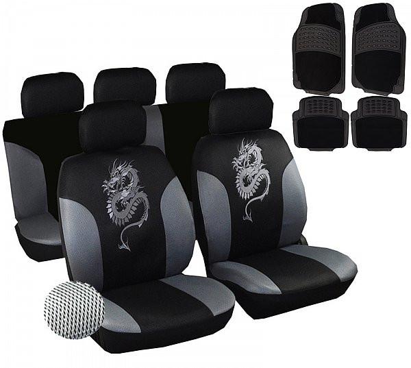 Auto Sitzbezüge + Fußmatten Schwarz/Grau