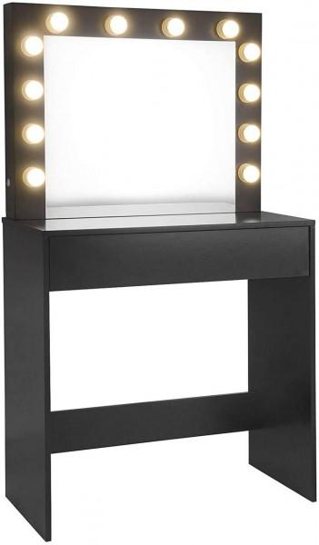 Schminktisch mit LED Beleuchtung aus Holz, schwarz
