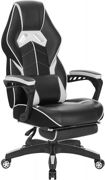 Gaming Stuhl aus Kunstleder mit Fußstütze Marco, weiß