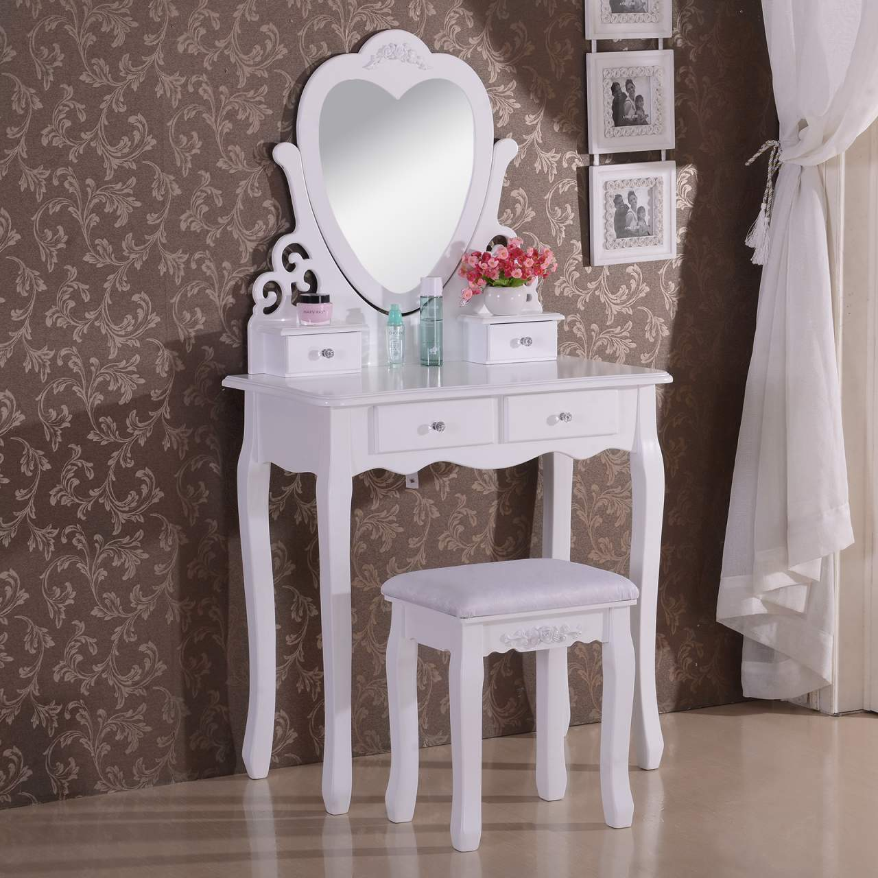 Dressing Table With Mirror Stool 4