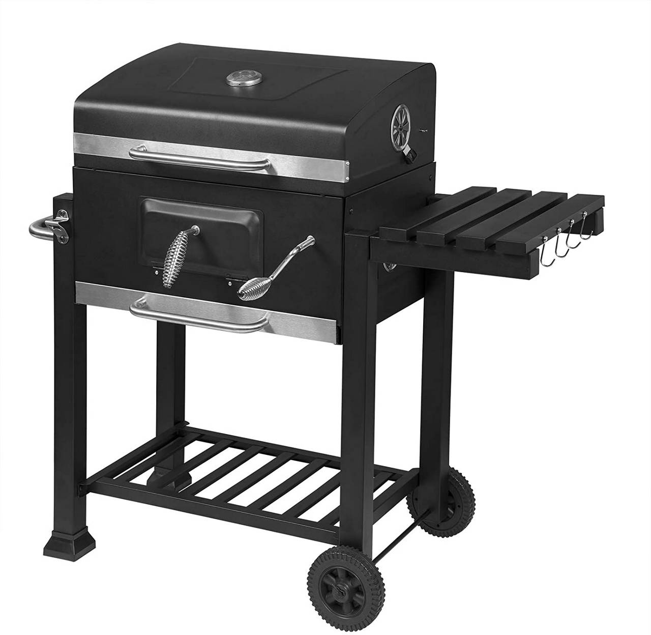 Charcoal grill with lid, barbecue grill for parties, black Wand