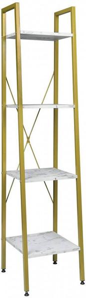 Standregal aus Metall & Holz mit 4 Ablagen, Modell Ani, weißer Marmor