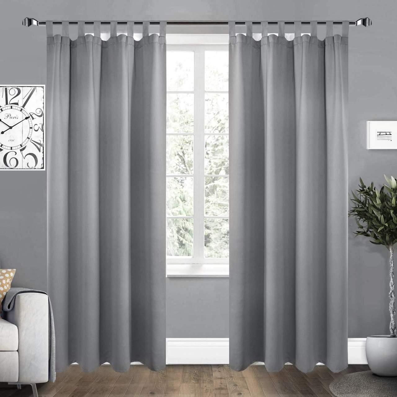 2er Set Vorhang Blickdicht Mit 8 Schlaufen Und Raffhalter Grau 135x225 Cm