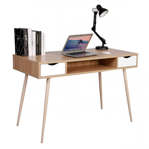 Computer table with three storage options in oak