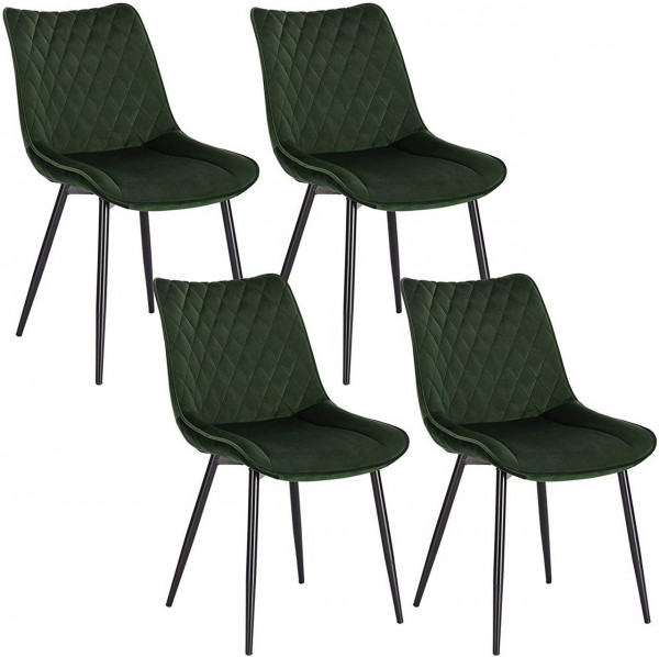 4er-Set Esszimmerstuhl Küchenstuhl Polsterstuhl aus Samt,dunkelgrün