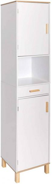 Hochschrank mit Schublade aus Holz 30x179x39cm weiß