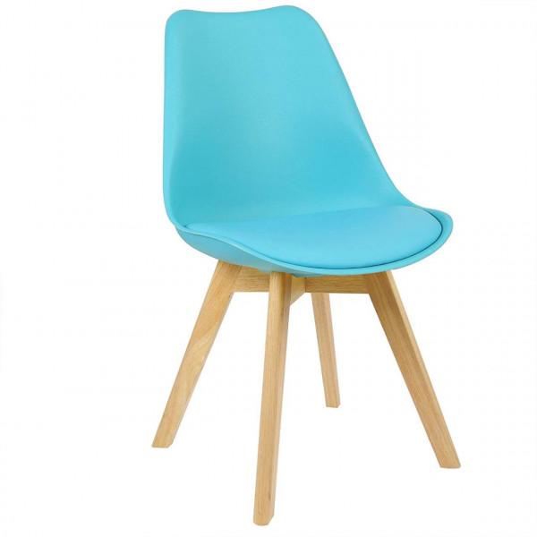 Esszimmerstühle 2er-Set Leinenbezug Holzbeine Lisa blau