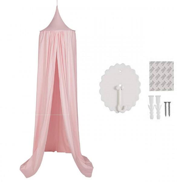 Baldachin Kinderzimmer, Betthimmel aus Polyester 230 cm, rosa