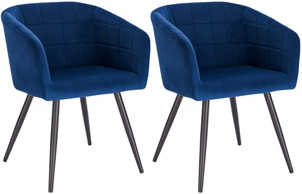 Set of 2 Velvet & metal dining chairs - Annika model