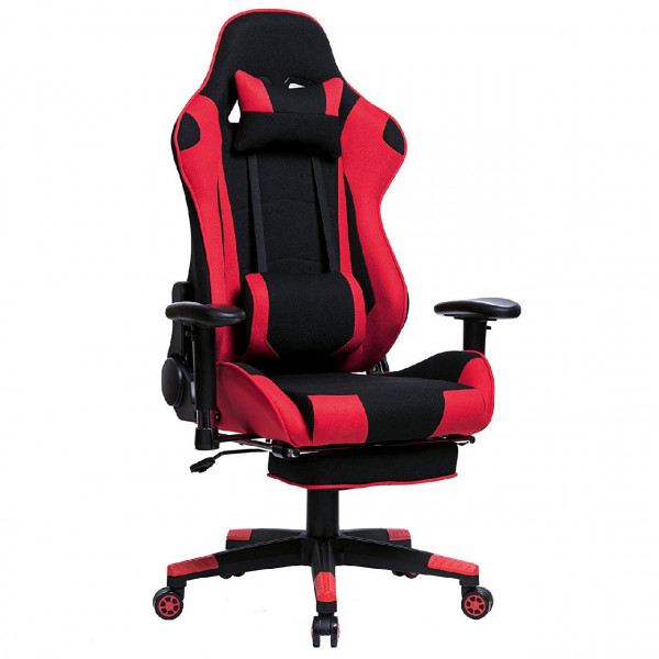 Gaming Chair Made Of Fabric With Footrest In Ergonomic Design Woltu Eu