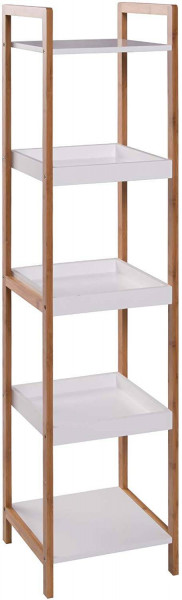 Standing Shelf with Wooden Trays 4 Tiers, Bamboo Frame Storage Shelves for Living Room Bathroom