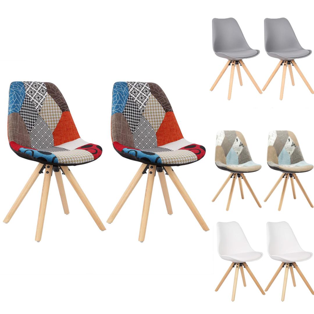 WOLTU/® BH52gr-2 2 x Esszimmerst/ühle 2er Set Esszimmerstuhl mit Sitzfl/äche aus Kunstleder Design Stuhl K/üchenstuhl Holz Grau
