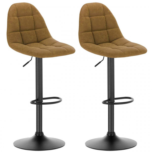 Leatherette bar stools with backrests - 2pcs set in brown