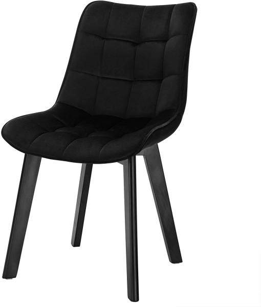 Velvet and wooden legs dining chair - Herta model