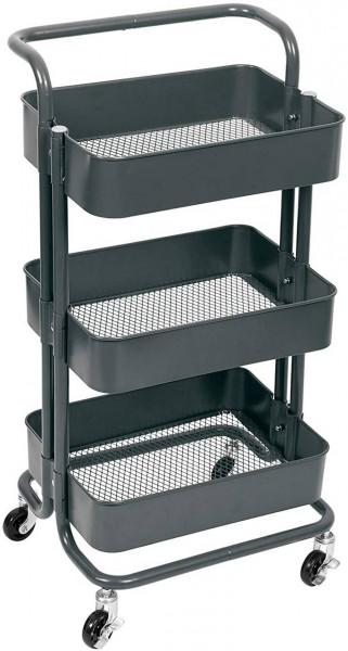 Küchenwagen Rollwagen mit Griff aus Metall, grau