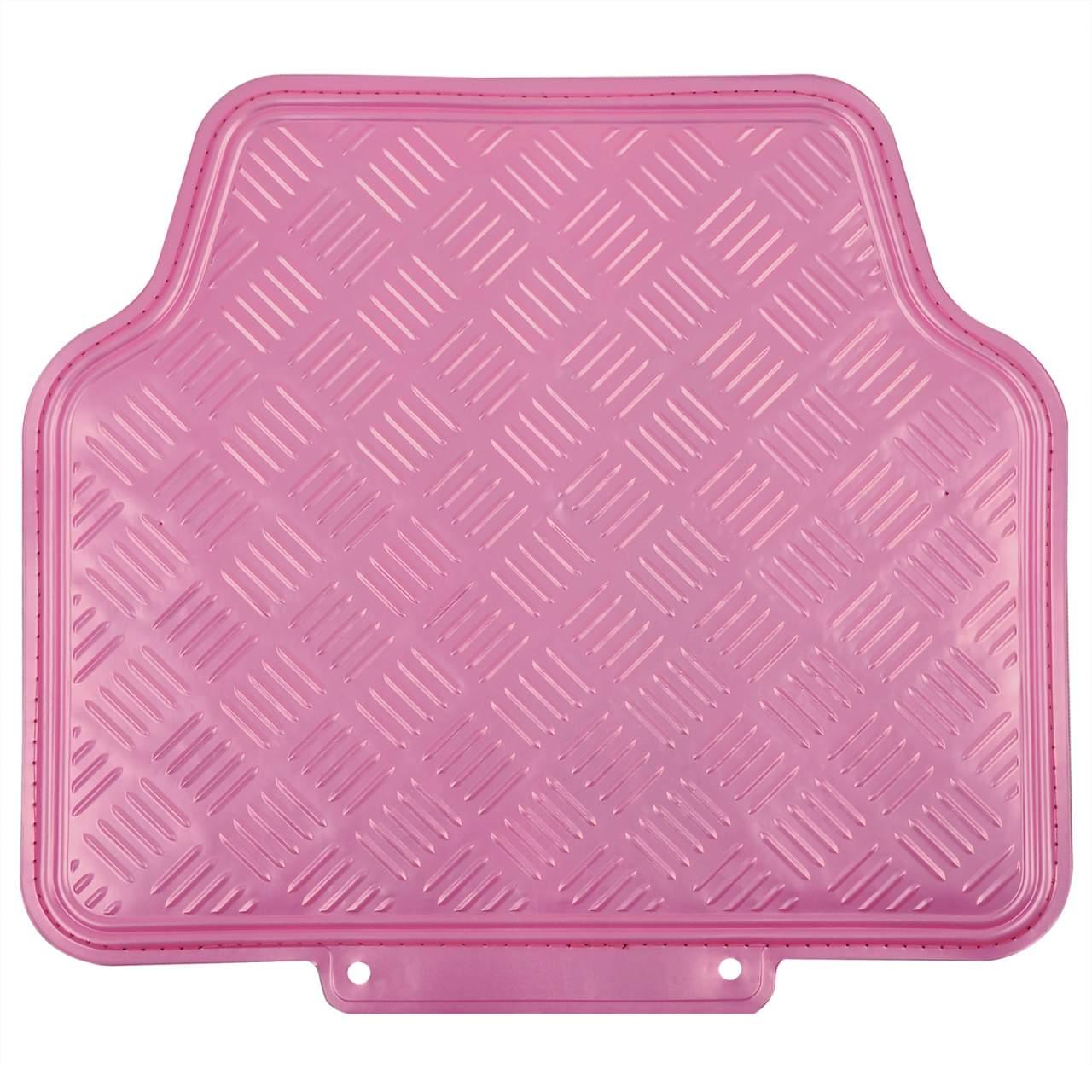 Universal Auto Fußmatten Matten Alu Look Riffelblech 4 teilige Set rosa AM7170rs