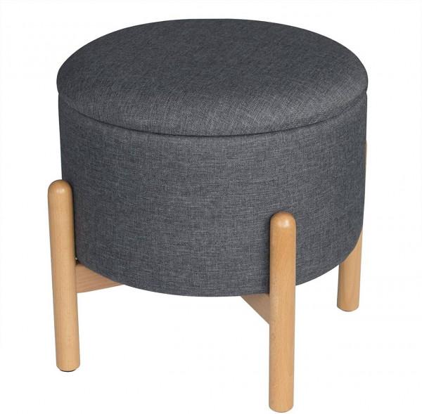Sitzbank Sitztruhe mit Stauraum aus Leinen, rund, dunkelgrau