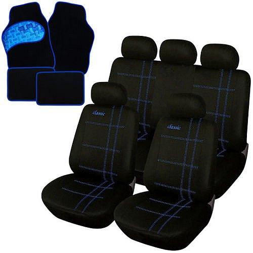 Auto Sitzbezüge + Fußmatten Schwarz/Blau