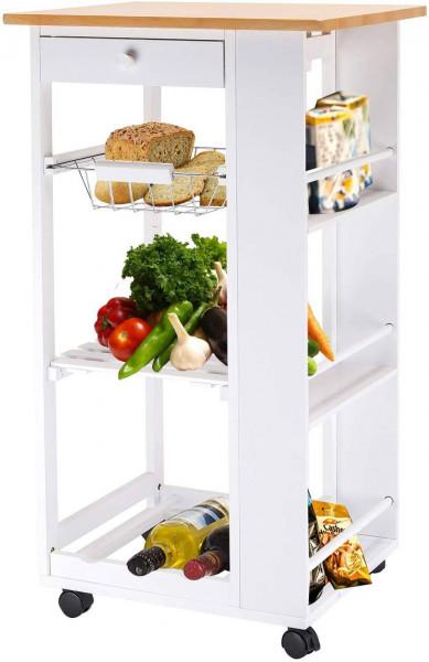 Küchenwagen mit Rollen Schublade Weiß