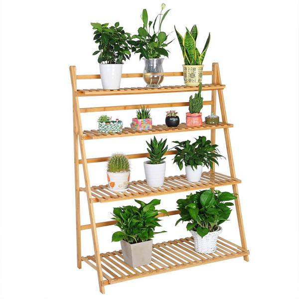 Pflanzenregale aus Bambus mit 4 Ablagen