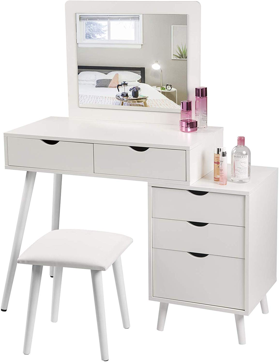 Dressing Table With 2 Drawers Bedside Table Woltu Eu