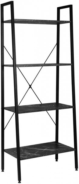 Standregal Haushaltsregal Holz Stahl, schwarzer Marmor