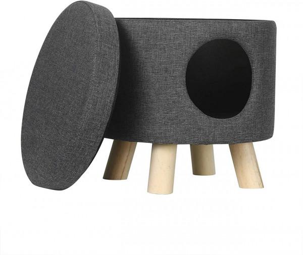 Sitzhocker Fußhocker mit Stauraum und Öffnung aus Leinen,dunkelgrau abnehmbar
