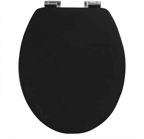 WC-Sitz aus MDF, mit Absenkautomatik, Schwarz