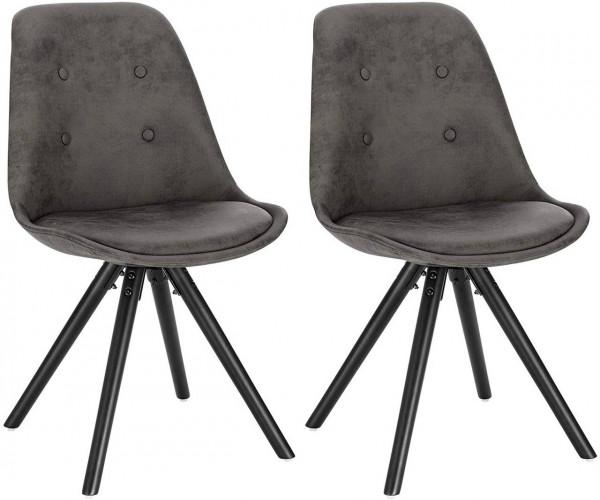2er-Set Esszimmerstühle aus Stoffbezug Antiklederoptik Angelina