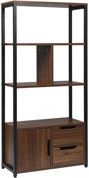 Standregal Bücherregal mit Schrank 58x24x120cm Dunkebuche