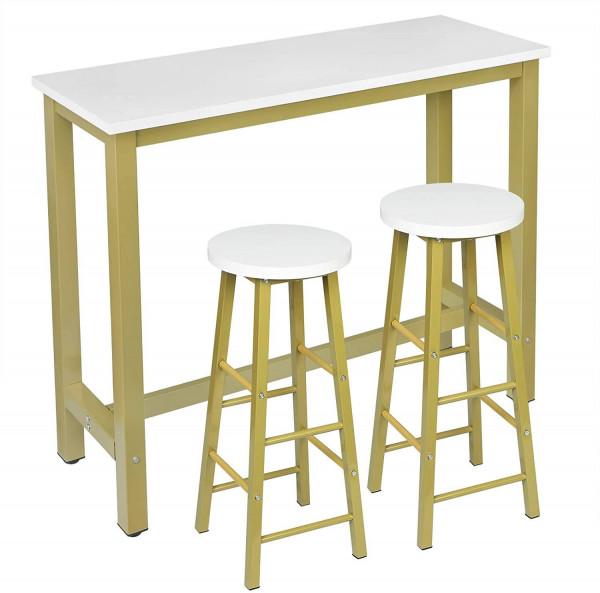 1 x Bartisch + 2 x Barhocker Set, Metallgestell, MDF, gold-weiß