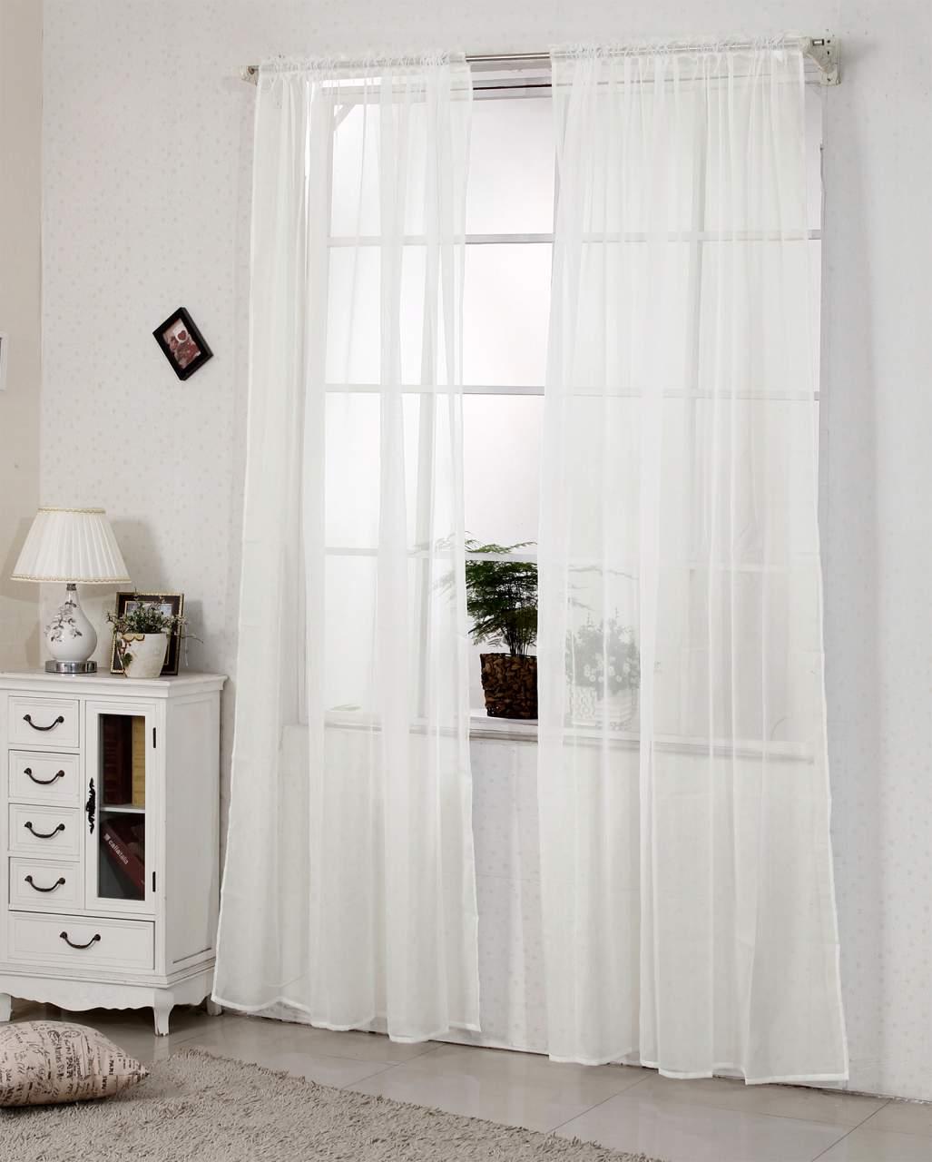 Gardinen transparent mit Kräuselband Stores Voile für Schiene Fensterschal  Wohnzimmer