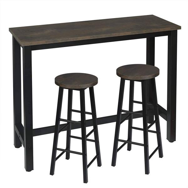 1 x Bartisch + 2 x Barhocker Set, Metallgestell, MDF, schwarz-rostfarbe
