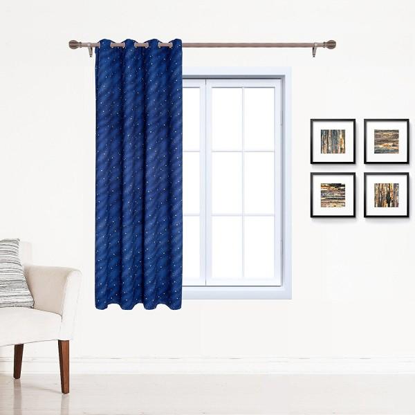 Gardine Vorhang blickdicht Ösen mit Muster Blau