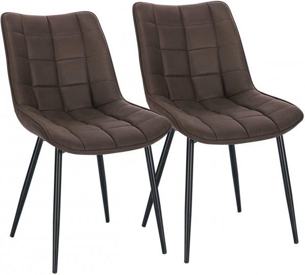 2er-Set Küchenstühle aus Stoffbezug Metallbeine Elif, Dunkelbraun