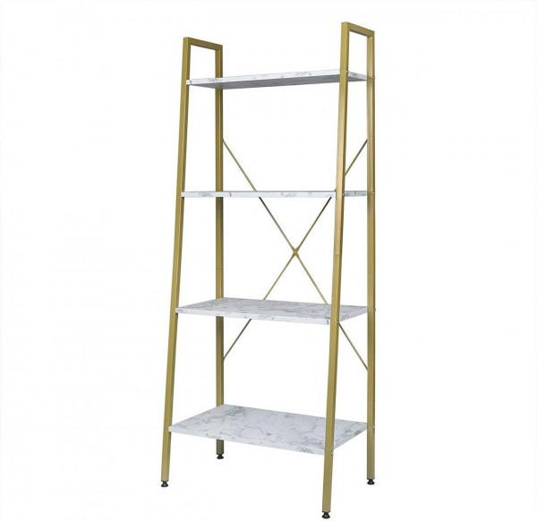 Standregal Haushaltsregal Holz Stahl, gold-weißer Marmor