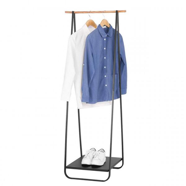 Kleiderständer mit Metallablagen für Schuhe Schwarz