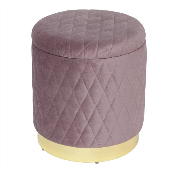 Elegant stool with storage space & removable velvet lid