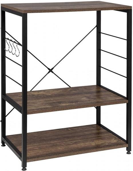 Standregal aus Holz & Metall mit 3 Ablagen für Küche, schwarz-vintage