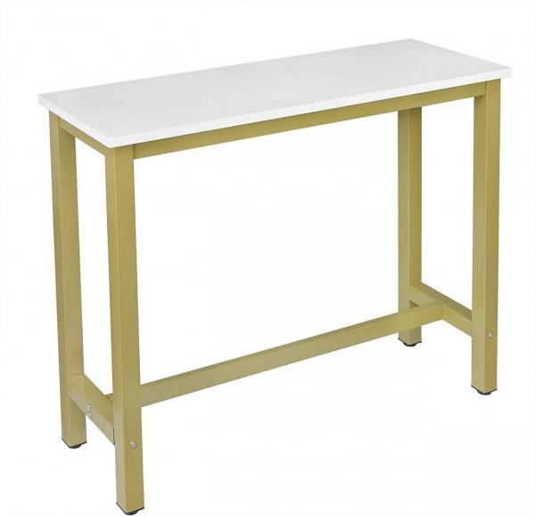 Bartisch Metallgestell Tischplatte aus MDF, golden-weiß