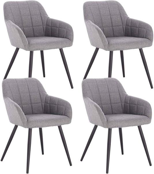 4er-Set Esszimmerstühle aus Leinen Modell Rita